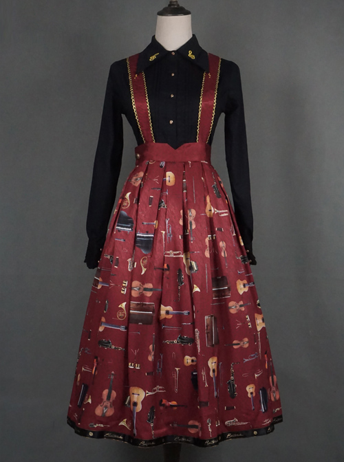 The Sound Of Music Series SK Classic Lolita Shoulder Straps Long Skirt