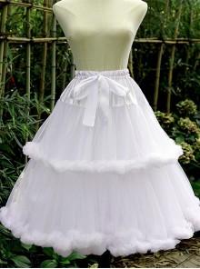 Violence Super Fluffy Cotton Candy Two Layers Sweet Lolita Medium Length Soft Yarn Petticoat