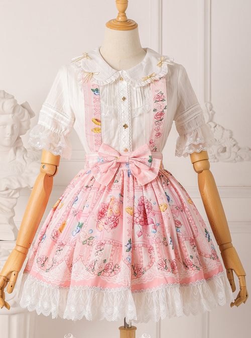 Blueberry Berry Series Bowknot Daily Suspenders Sweet Lolita Skirt
