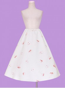 Mushroom Rabbit Series Printing Sweet Lolita Apricot Long Skirt