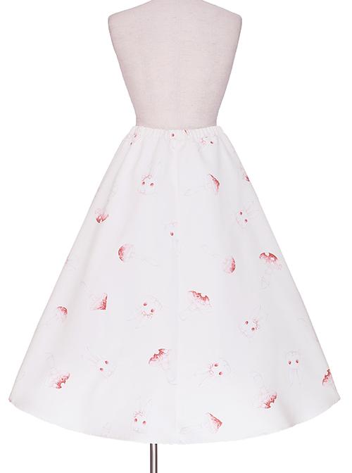 Mushroom Rabbit Series Printing Sweet Lolita Apricot Long Skirt