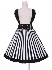 Lazy Kitten Series Black White Stripes Sweet Lolita Sling Skirt