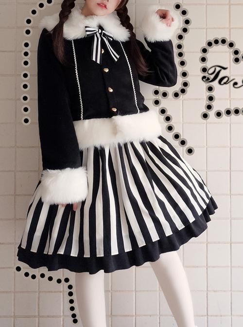 Lazy Kitten Series Black White Stripes Sweet Lolita Sling Skirt