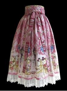 Cute Little Bears Printing Sk High Waist Sweet Lolita Medium-length Skirt