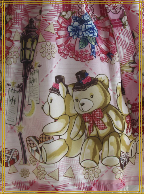 Cute Little Bears Printing Sk High Waist Sweet Lolita Medium-length Skirt