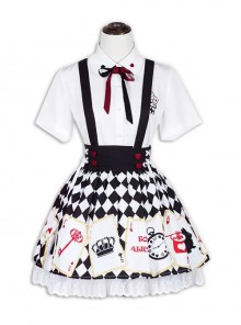 Sweet Lolita Embroidery White Short Sleeves Shirt And Poker Printing Sling Skirt Set