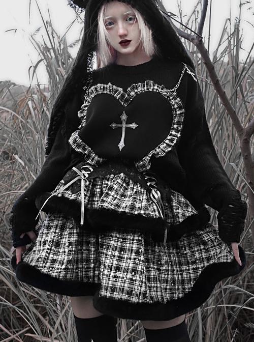 Christmas Sacrificial Night Series Gothic Snowflake Plaid Cake Skirt