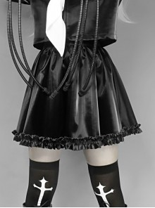 Gothic Black PU Soft Leather Frill Skirt