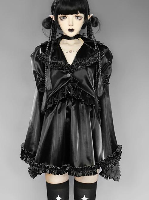 Gothic Black PU Soft Leather Frill Skirt