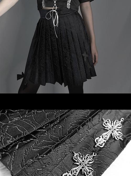 Darkness Feast Series Black Rose Jacquard Gothic High Waist Skirt