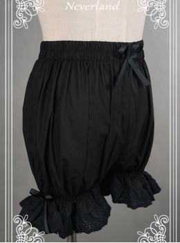 Cotton Black Lace Bowknot Lolita Bloomers