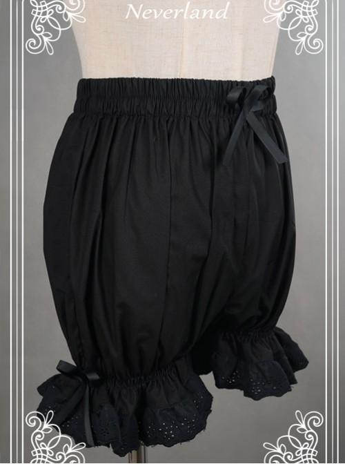 Cotton Black Lace Bowknot Lolita Bloomers