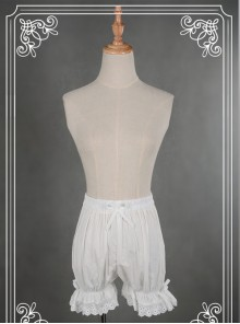 Cotton White Lace Bowknot Lolita Bloomers