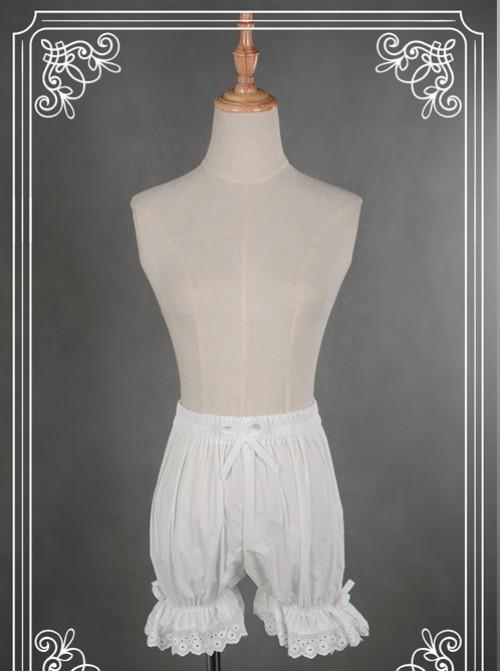 Cotton White Lace Bowknot Lolita Bloomers