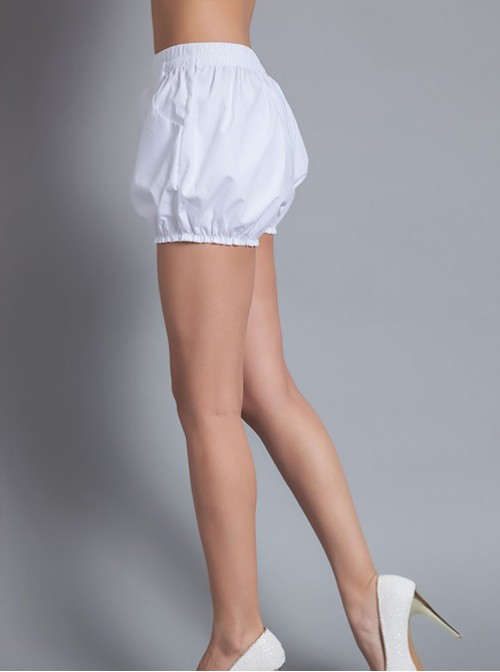 Concise Pure Cotton White Lolita Bloomers