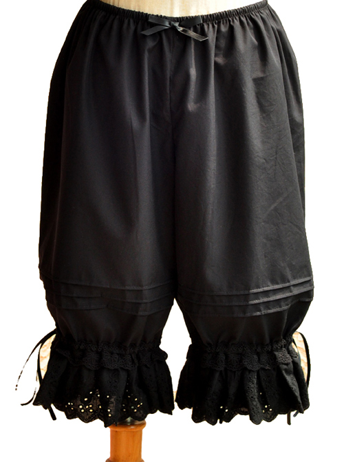 Accordion Pleats Lace Wide-leg Black Lolita Bloomers