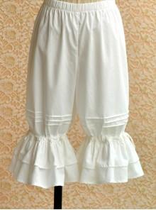 Pure Cotton White Double-deck Flounced Wide-leg Lolita Bloomers