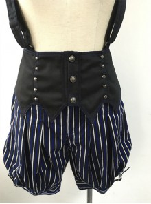 Shibuya Bloodsucker Bat Earl Dark Blue Stripes Harajuku Style Punk Lolita Bloomers