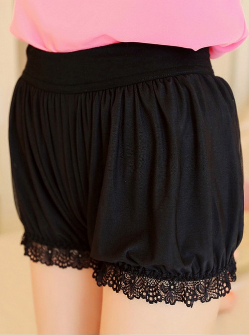 Black Lace Safety Trousers Prevent Wardrobe Malfunction Lolita Bloomers