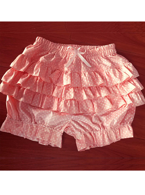 Cute White Wave Points Pink Bowknot Sweet Lolita Bloomers