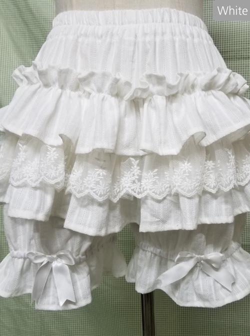 Milky White Pure Cotton Lace Multi-storey Lolita Pumpkin Pants
