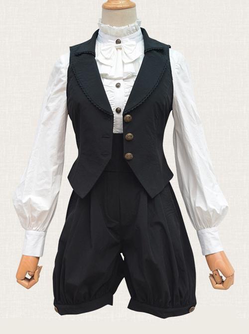 Black Chiffon Handsome Elegant Retro Classic Lolita Bloomers
