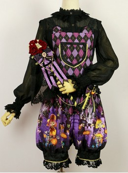 Halloween Trick Or Treat Cat Gothic Prince Lolita Purple Sling Pants