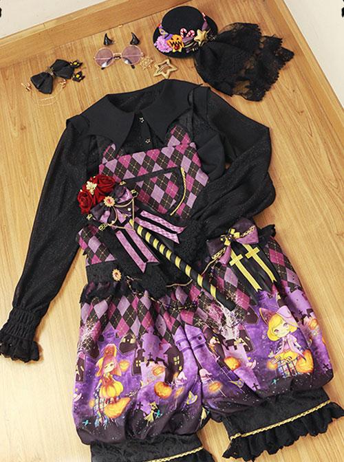 Halloween Trick Or Treat Cat Gothic Prince Lolita Purple Sling Pants