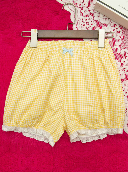 Cute Plaid Printing White Lace Sweet Lolita Short Bloomers