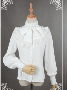 Neverland White High Collar Bowknot Lantern Sleeve Lolita Blouse