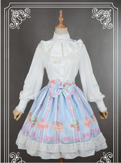 Neverland White High Collar Bowknot Lantern Sleeve Lolita Blouse