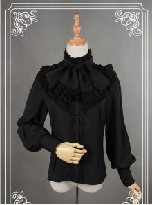 Black High Collar Bowknot Lantern Sleeve Lolita Blouse