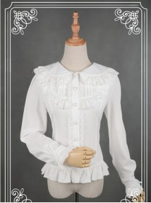 White Lace Lapel Chiffon Long-sleeved Lolita Blouse
