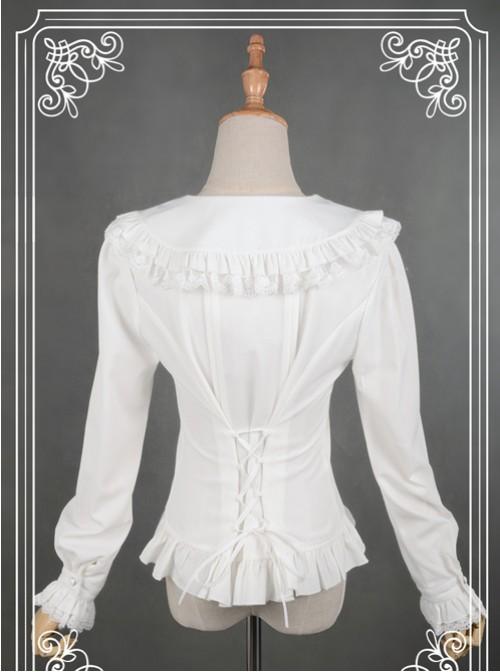 White Lace Lapel Chiffon Long-sleeved Lolita Blouse