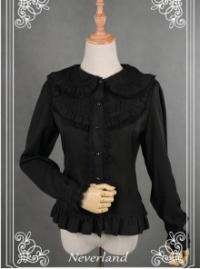 Black Lace Lapel Chiffon Long-sleeved Lolita Blouse