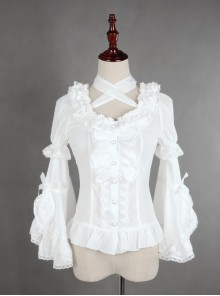 White Lace Short Sleeve And Flare Sleeve Lolita Hang The neck Blouse