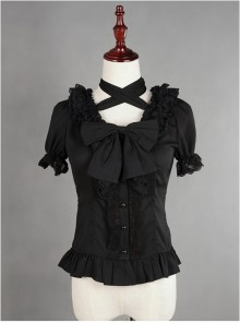 Black Lace Short Sleeve And Flare Sleeve Lolita Hang The neck Blouse