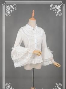 White Retro Mercerized Cotton Lace Flare Sleeve Lolita Blouse
