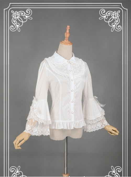 White Retro Mercerized Cotton Lace Flare Sleeve Lolita Blouse