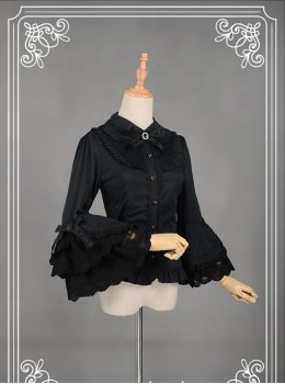 Black Retro Mercerized Cotton Lace Flare Sleeve Lolita Blouse