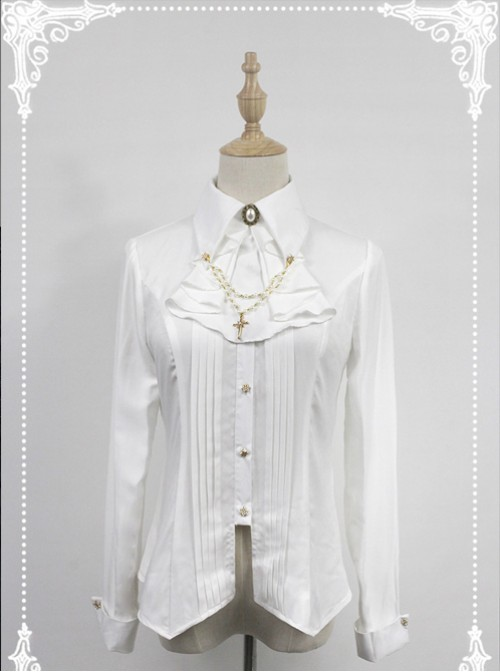 White Long Sleeve Cotton Stand Collar Bead Chain Lolita Blouse