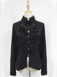 Black Long Sleeve Cotton Stand Collar Bead Chain Lolita Blouse