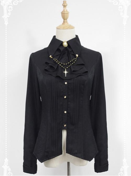 Black Long Sleeve Cotton Stand Collar Bead Chain Lolita Blouse