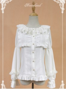 White Doll Collar Lantern Sleeve Bowknot Lolita Blouse