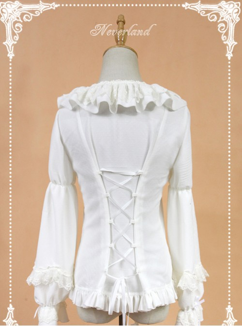 White Doll Collar Lantern Sleeve Bowknot Lolita Blouse