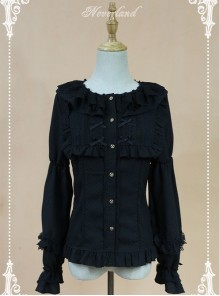 Black Doll Collar Lantern Sleeve Bowknot Lolita Blouse
