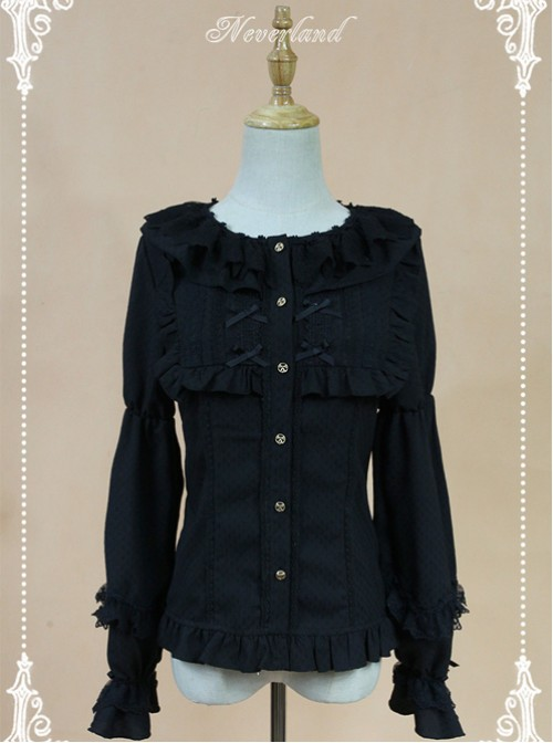Black Doll Collar Lantern Sleeve Bowknot Lolita Blouse