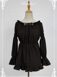 Chocolate Flare Sleeve Long Sleeve Bowknot Lolita Blouse