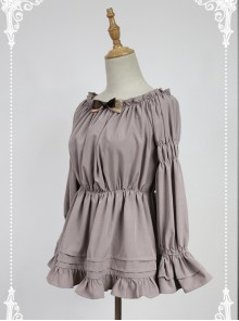 Smoke-grey Flare Sleeve Long Sleeve Bowknot Lolita Blouse
