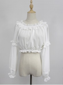 White Round Collar Agaric Laces Bottoming Shirt Lolita Blouse